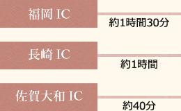 福岡ICから嬉野ICまでは約1時間30分、長崎ICからは約1時間、佐賀大和ICからは約40分