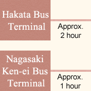 Approximately 2 hour from Hakata Bus Terminal to Ureshino IC. Approximately 1 hour from Nagasaki Ken-ei Bus Terminal to Ureshino IC